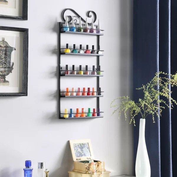 nail polish wall rack organizer holds 50 bottles nail polish shelf black