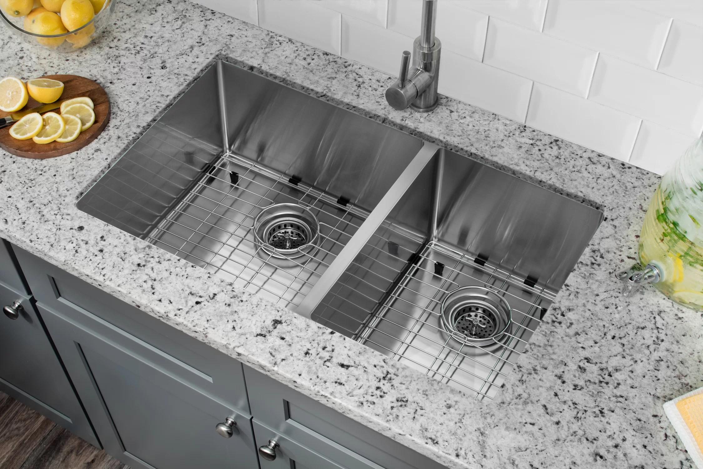 soleil radius 16 gauge stainless steel 32 x 19 60 40 double bowl undermount kitchen sink reviews wayfair