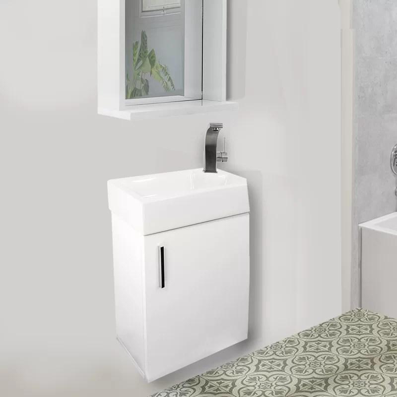 Wrought Studio Glassman 18 Wall Mounted Single Bathroom Vanity Set With Mirror Reviews Wayfair