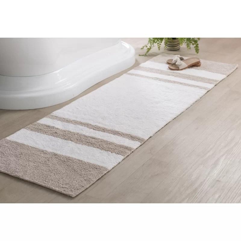 Beachcrest Home Rosenbloom Rectangular 100 Cotton Striped Bath Rug Reviews Wayfair