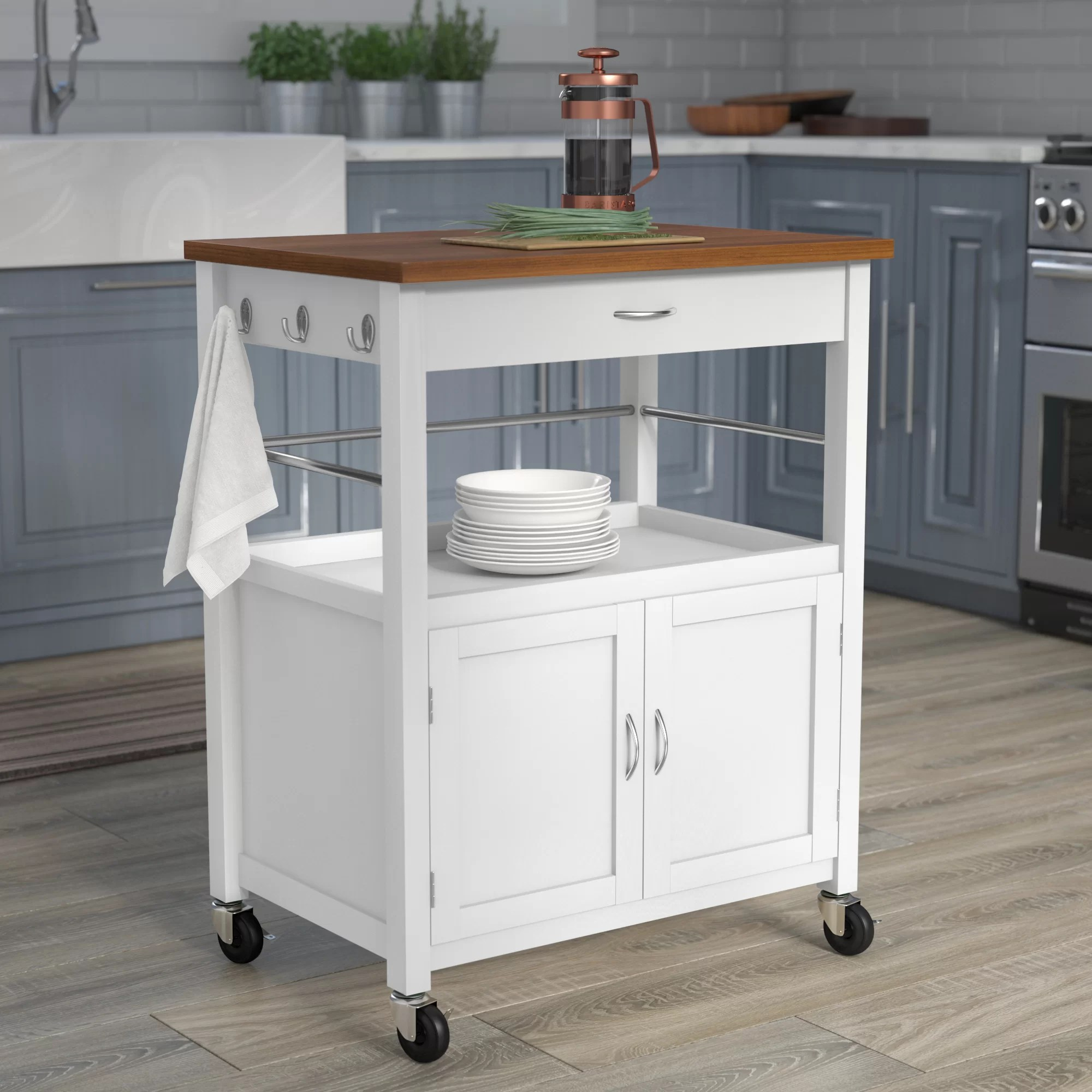 kitchen island top with table attached andover mills kibler cart natural butcher block bamboo reviews wayfair