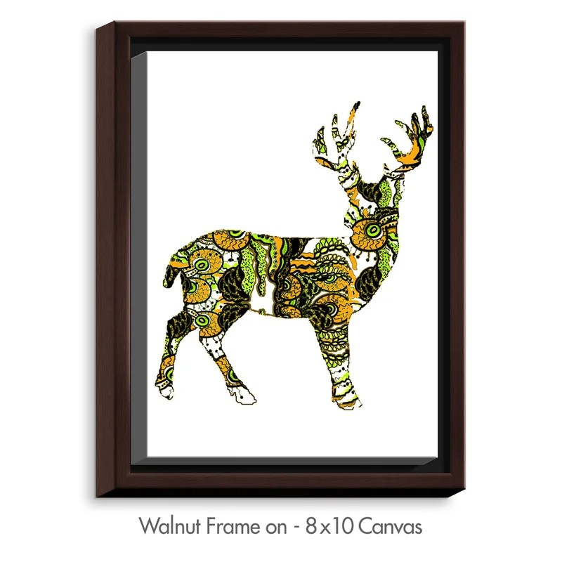 Deer II by Susie Kunzelman Graphic Art on Wrapped Framed Canvas Size: 15.75 H x 12.75 W x 1.75 D Frame Color: Walnut