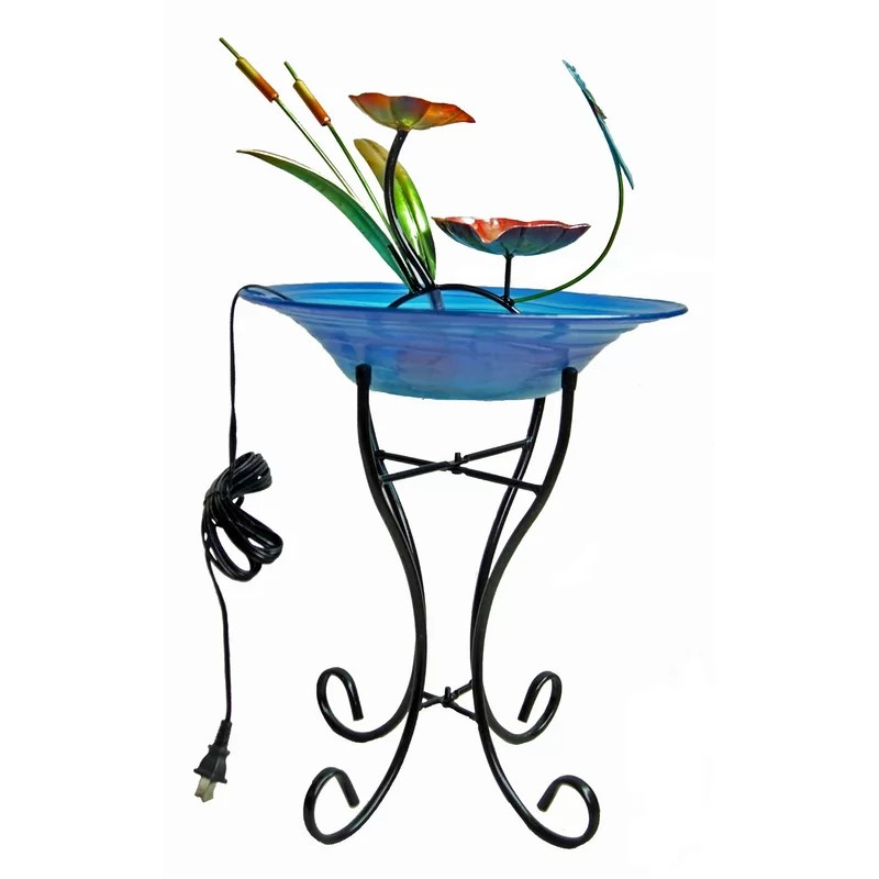 Glass/Metal Decorative Fountain Bowl Stand Color: Blue