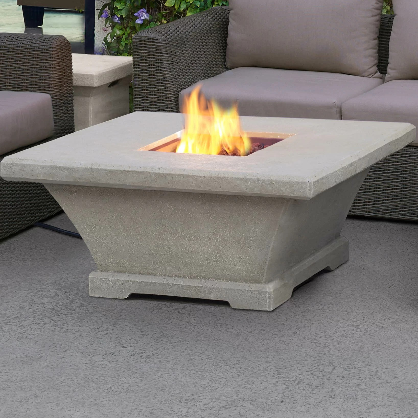 low chairs for fire pit modern swivel lounge real flame monaco square profile propane