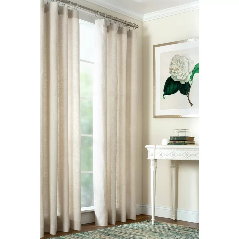 lush 100 linen solid color semi sheer single curtain panel