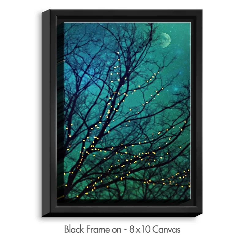 Magical Night by Sylvia Cook Painting Print on Wrapped Framed Canvas Size: 15.75 H x 12.75 W x 1.75 D Frame Color: Black