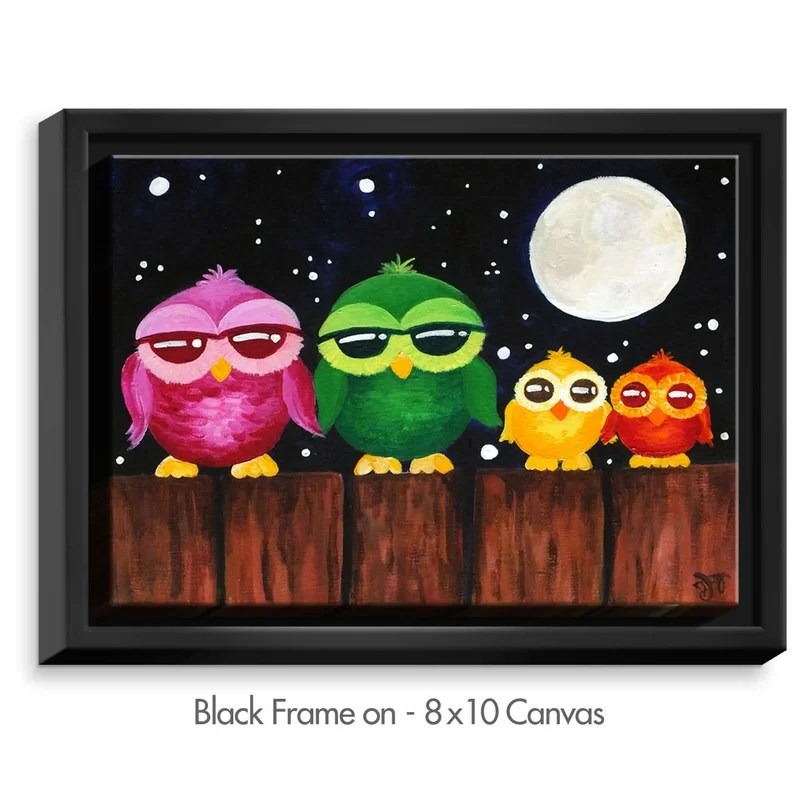 Owls on a Fence by NJoy Art Painting Print on Wrapped Framed Canvas Size: 25.75 H x 37.75 W x 1.75 D Frame Color: Black