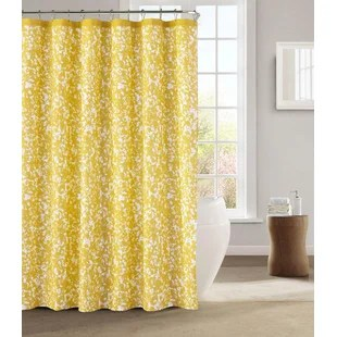 navy yellow gold shower curtains
