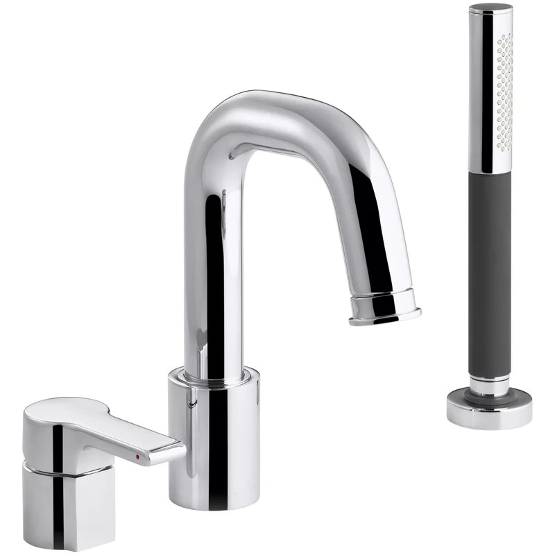singulier single handle deck mounted roman tub faucet with diverter and handshower