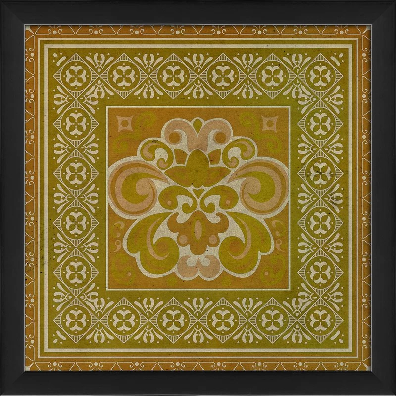 Tile 4 Framed Graphic Art Color: Yellow