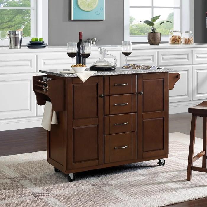 granite top kitchen cart modern cabinet charlton home iyana with wayfair ca