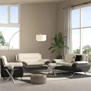 black leather living room best light green paint color for sets you ll love wayfair quickview beige