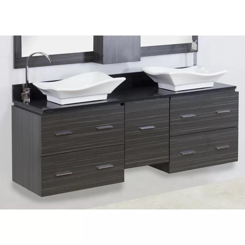 60 Double Modern Wall Mount Bathroom Vanity Set Hardware Finish: Chrome