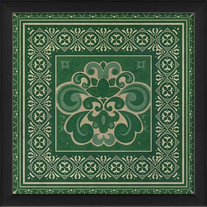 Tile 4 Framed Graphic Art Color: Green