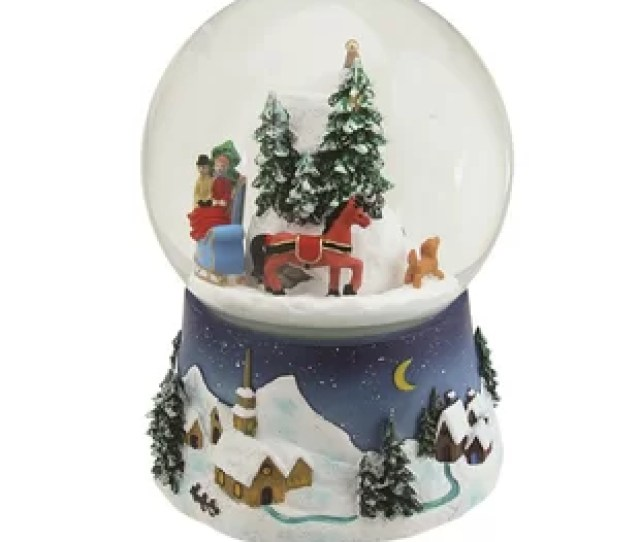 Musical And Animated Christmas Villiage Winter Scene Rotating Snowglobe
