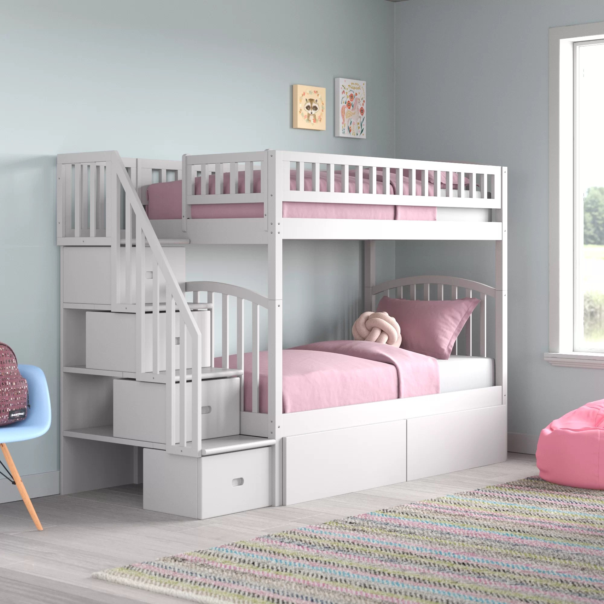 Harriet Bee Salem Staircase Twin Over Twin Bunk Bed With Drawers Reviews