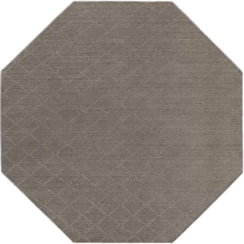 Huxley Viscose Gray Area Rug Rug Size: Octagon 10