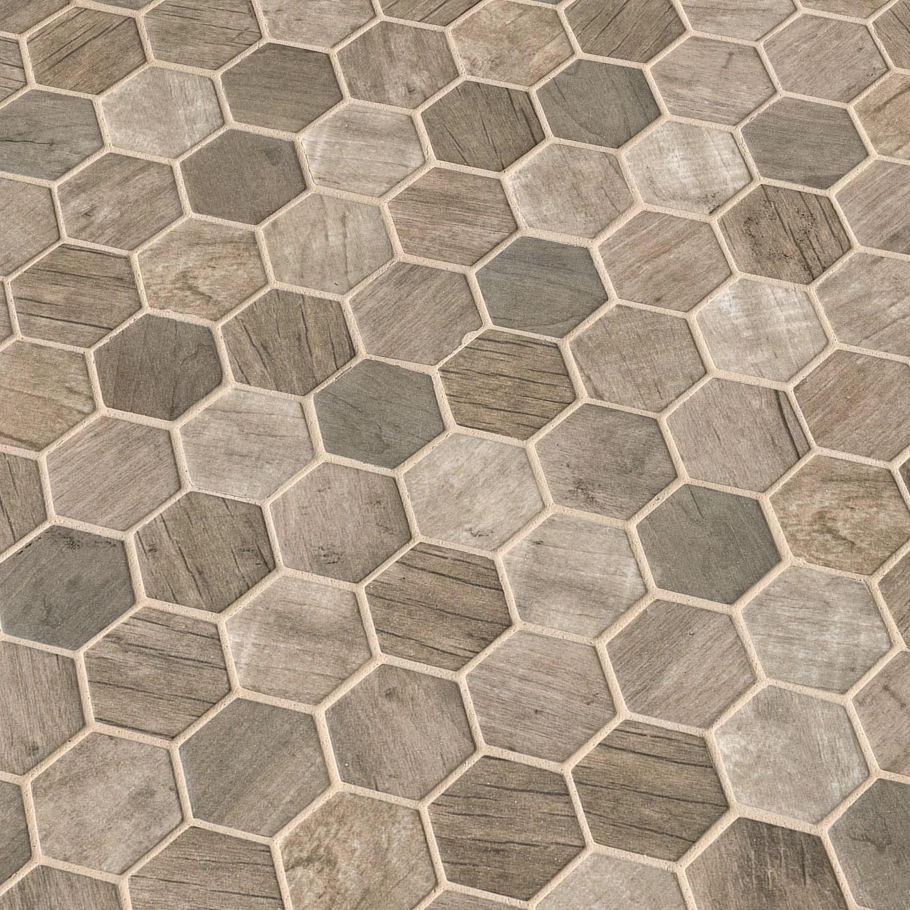 msi driftwood hexagon 2 x 2 glass wood look tile wayfair