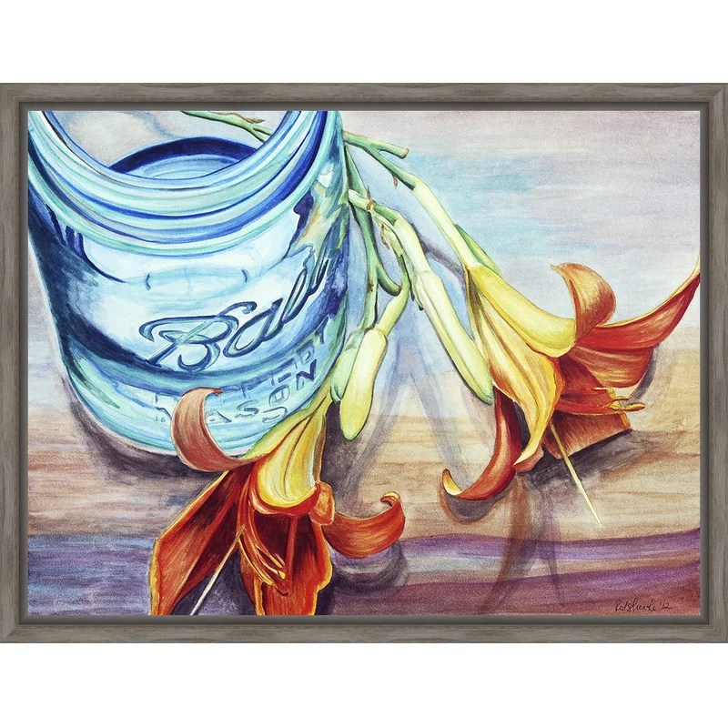 Trends Custom Ball Jar Flower I Framed Painting Print on Canvas