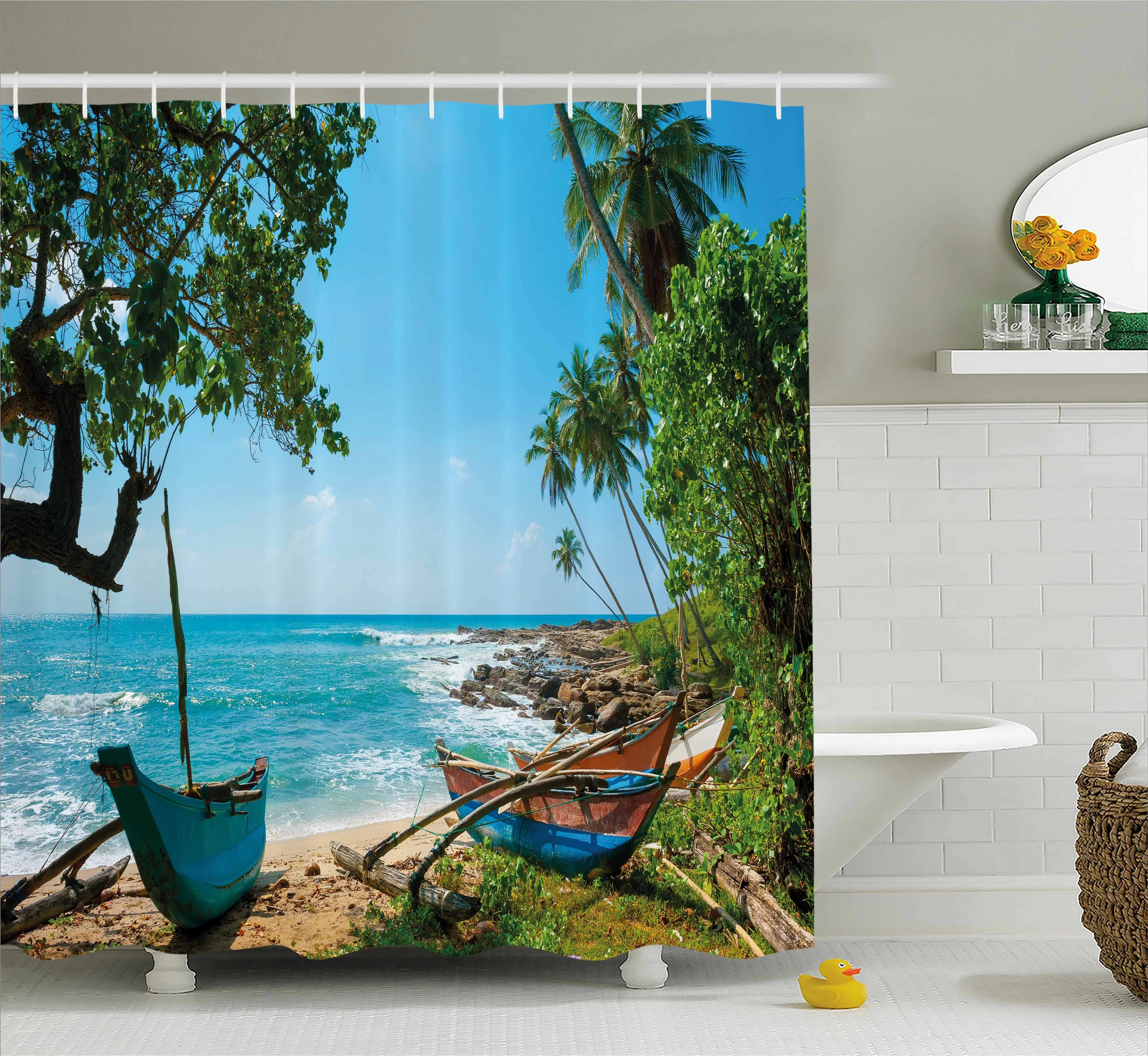 bayou breeze renato beach tropical ocean scenery with palm trees and fishing boats caribbean landscape single shower curtain wayfair