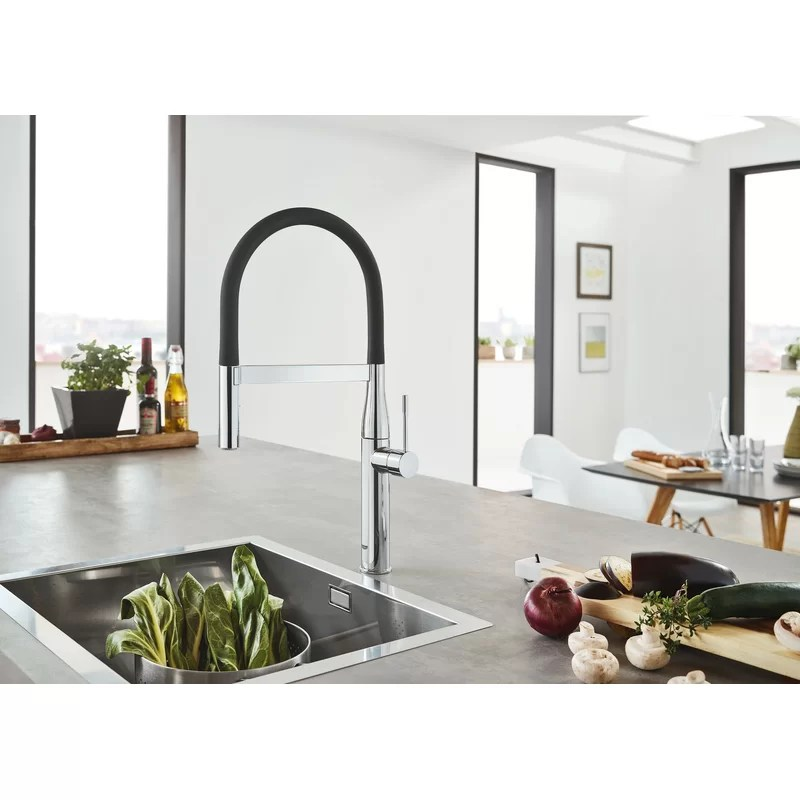 essence single handle kitchen faucet with silkmove