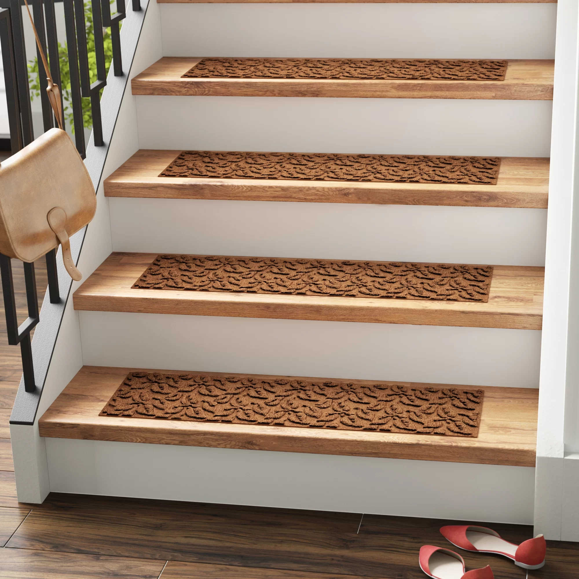 Tucker Murphy™ Pet Beauvais Dogwood Leaf Stair Tread Reviews | Dark Wood Stair Treads | Timber | White Handrail | Dark Stained | Natural Wood | Wood Finish