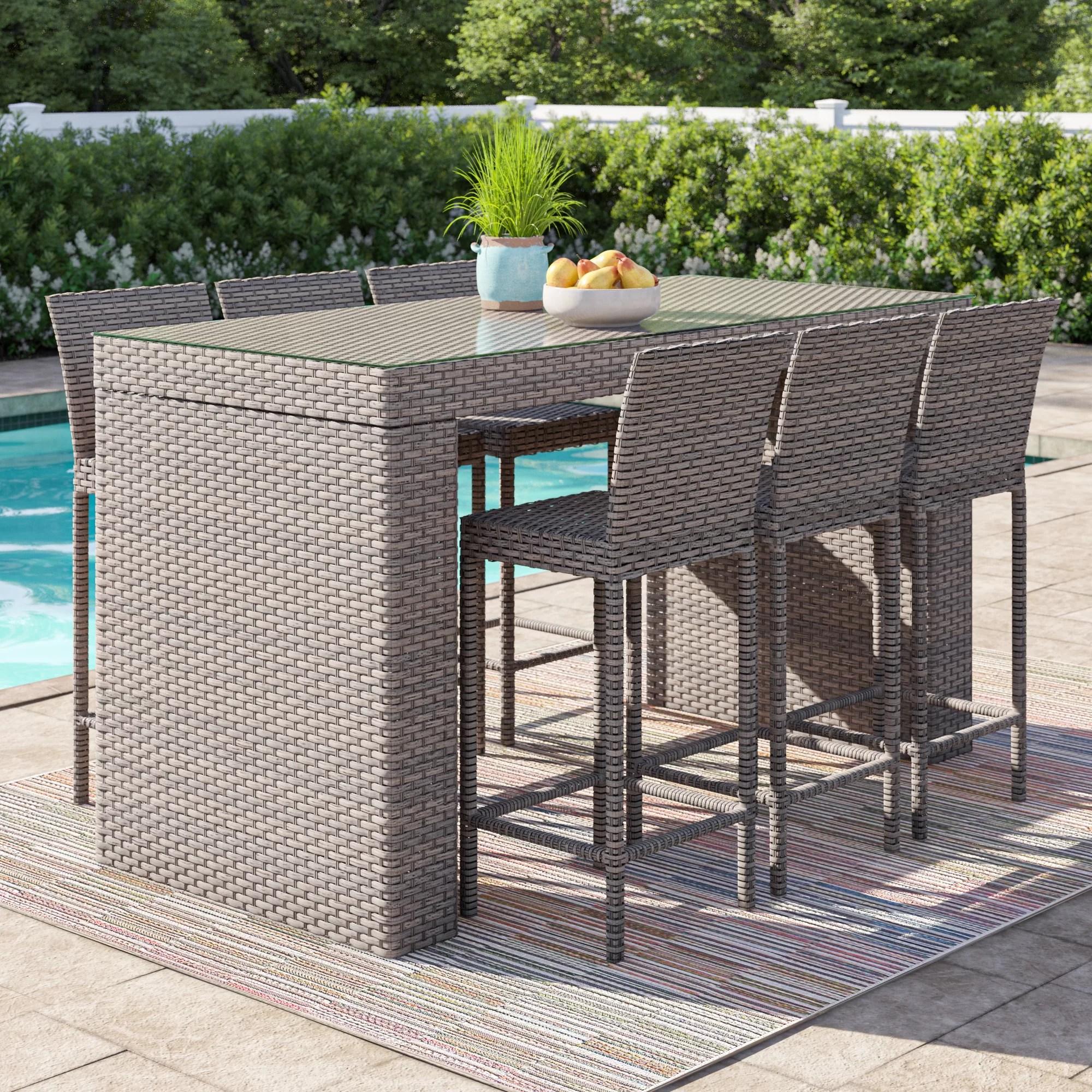 Sol 72 Outdoor Rochford 7 Piece Bar Height Pub Table Set Wayfair