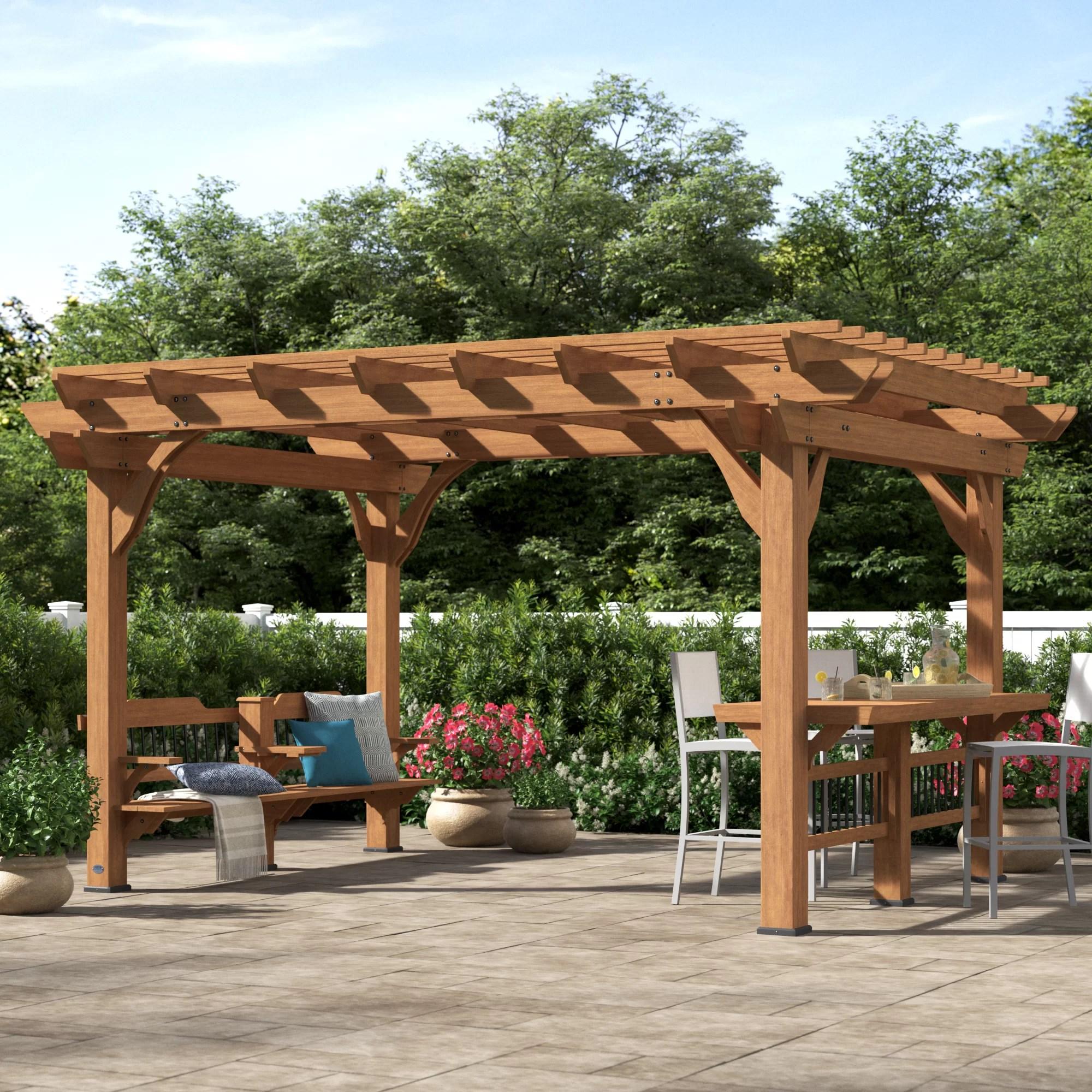 oasis 14 ft w x 10 ft d solid wood pergola