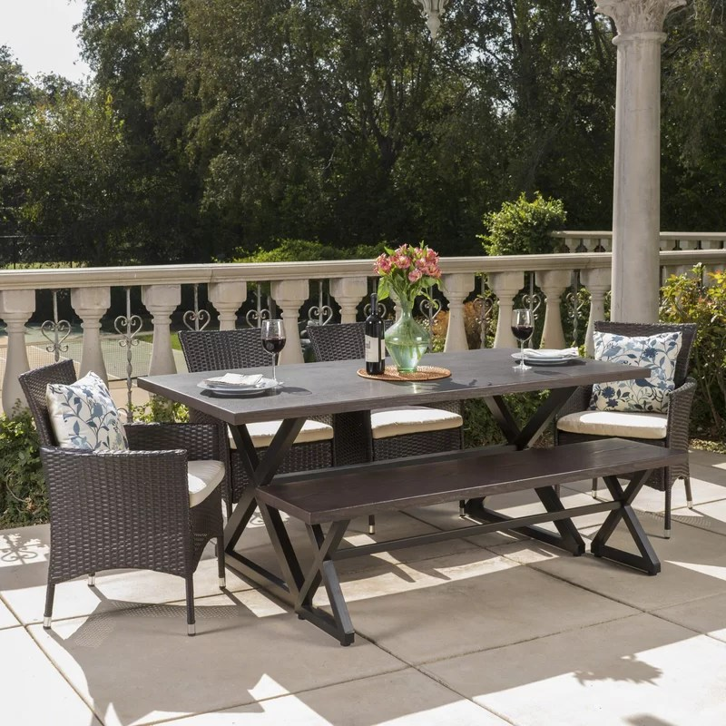 kiser rectangular 6 person 70 5 long dining set with cushions