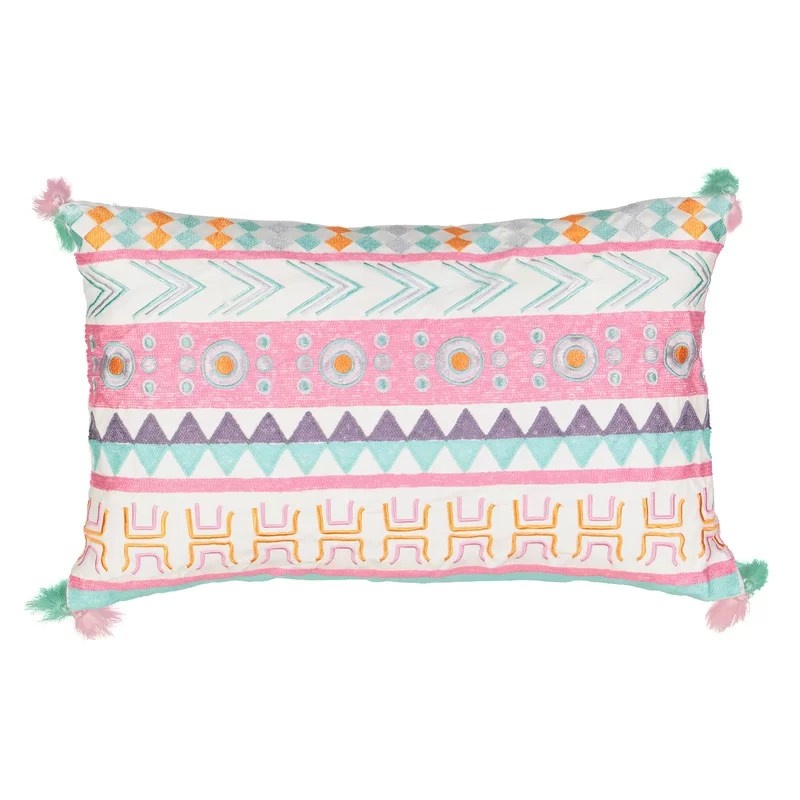 kids la la llama embroidered lumbar pillow