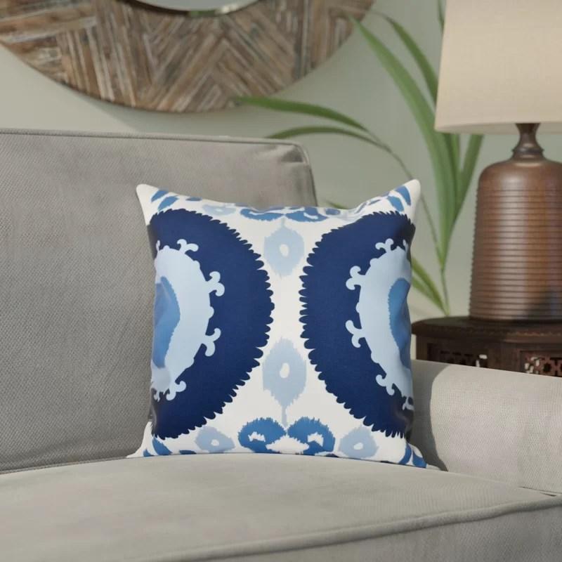 Meetinghouse Boho Geometric Print Throw Pillow Size: 16 H x 16 W Color: Navy Blue