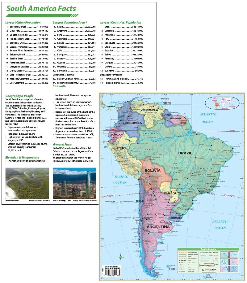 laminated south america continent