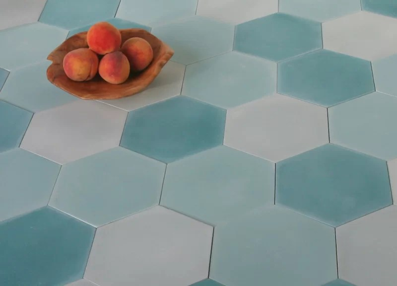 solid mixed hex 8 x 9 cement field tile in blue
