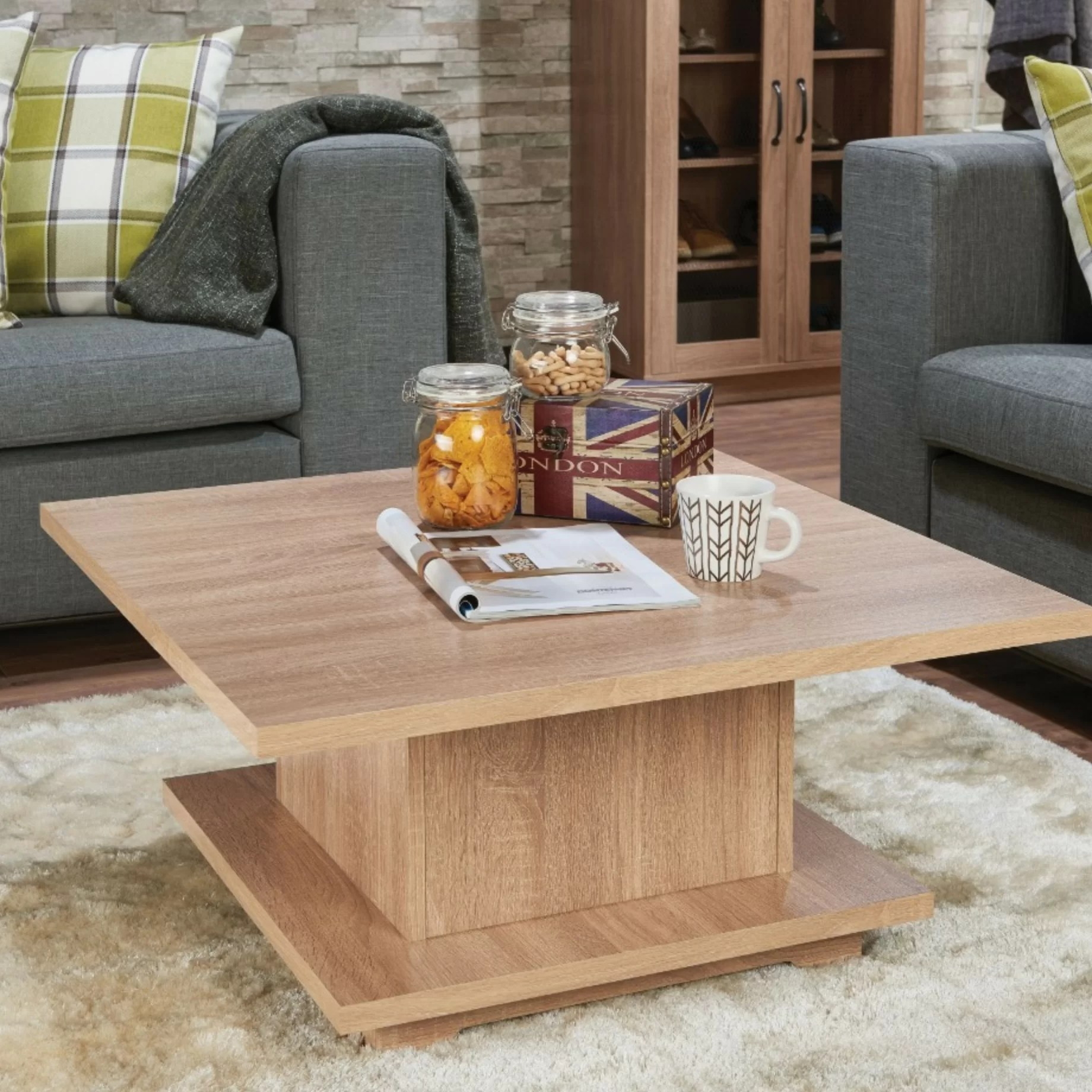 dossett contemporary square wooden coffee table with storage