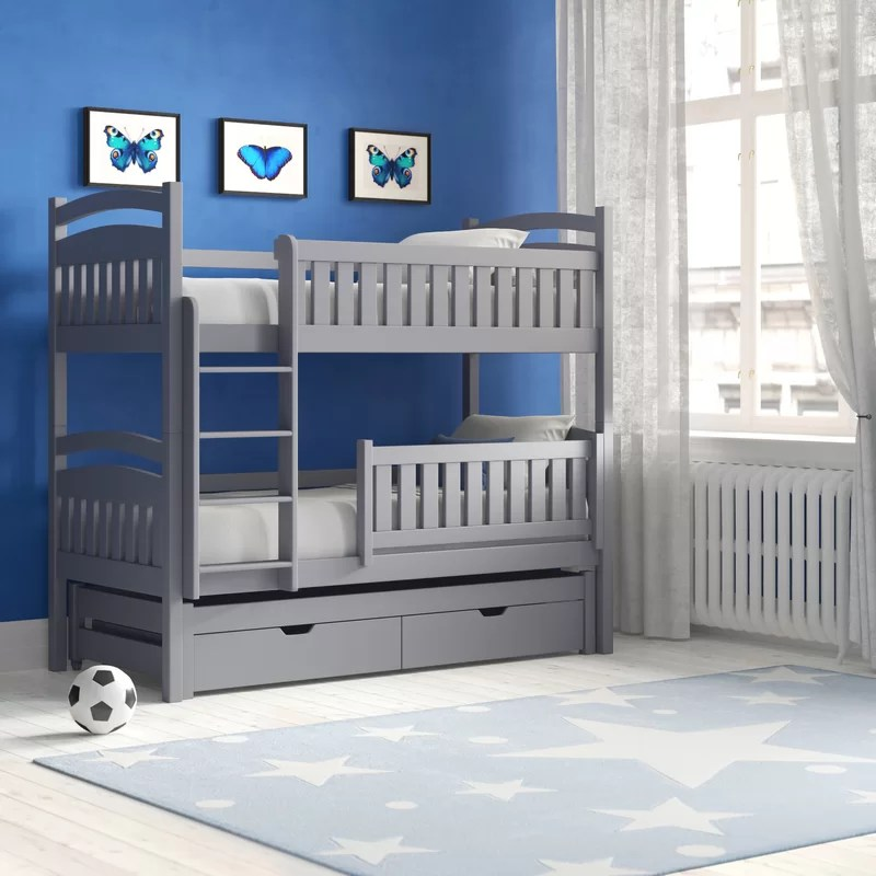 azaiah single triple sleeper bunk bed with trundle and drawers