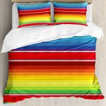 Ambesonne Mexican Decorations Horizontal Colored Ethnic Blanket Rug Lines Pattern Bright Decorative Design Duvet Cover Set Wayfair