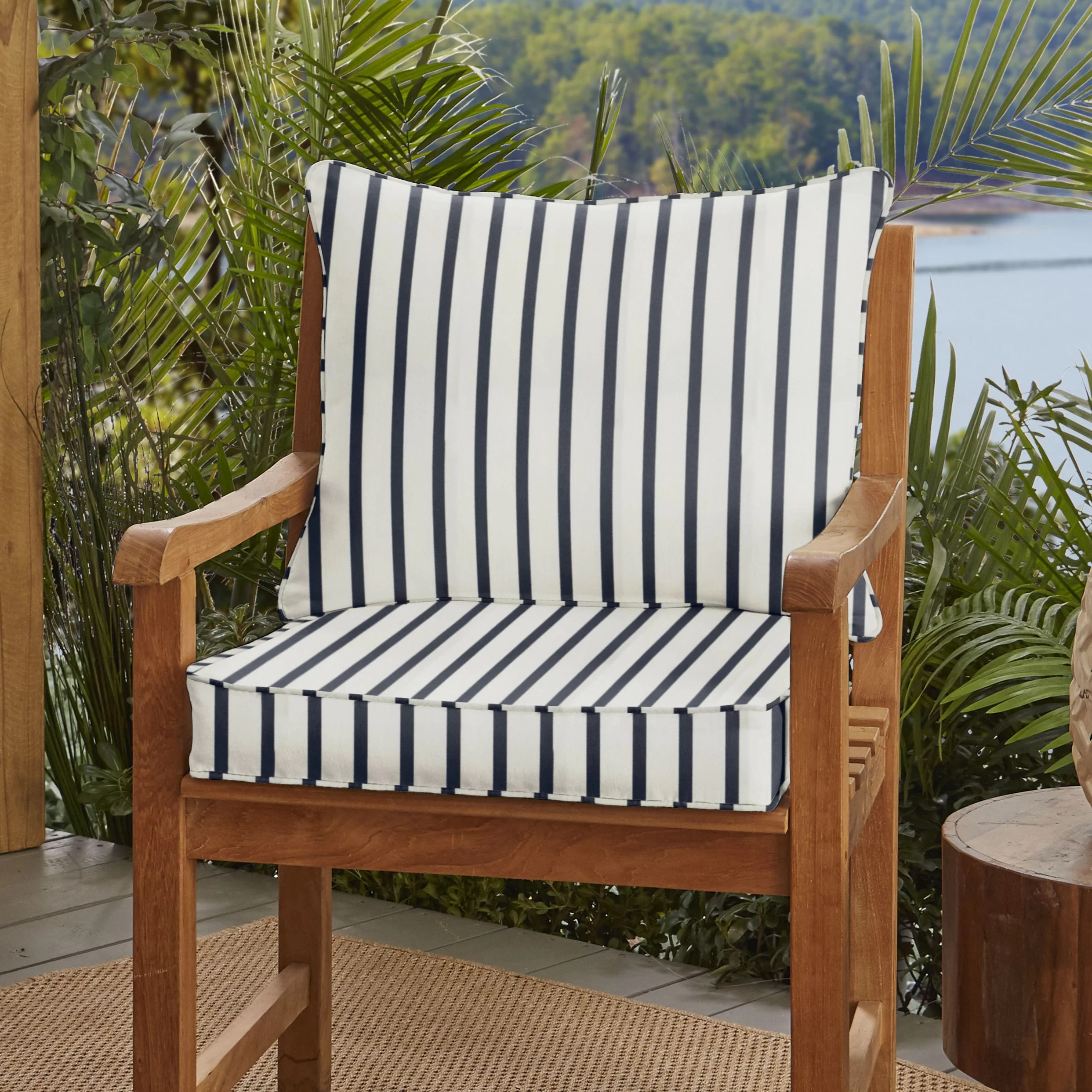 Whitten Stripe Outdoor Sunbrella Seat Back Cushion Reviews Joss Main