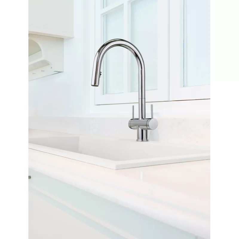 azure pull down double handle kitchen faucet with boomerang fully retractable spray technology