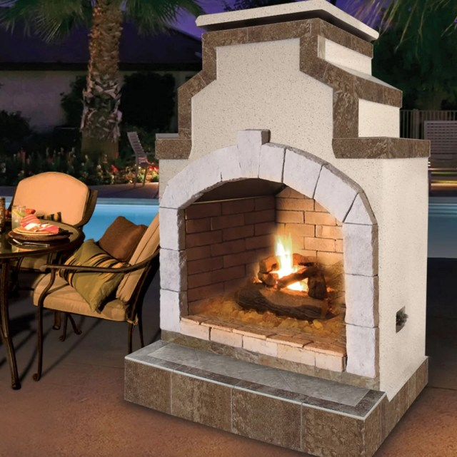 cal flame propane gas outdoor fireplace | wayfair