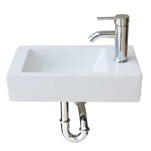 white ceramic rectangular wall mount bathroom sink with faucet