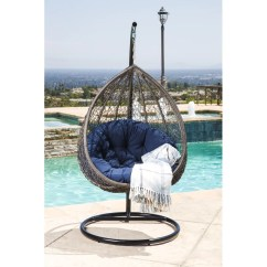 Outdoor Wicker Swing Chair Wing Back Slip Cover Bungalow Rose Ostrowski With Stand Wayfair