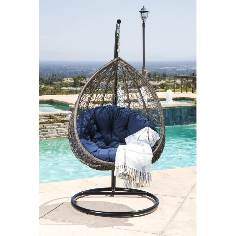 swing chair with stand outdoor bungalow rose ostrowski wicker wayfair