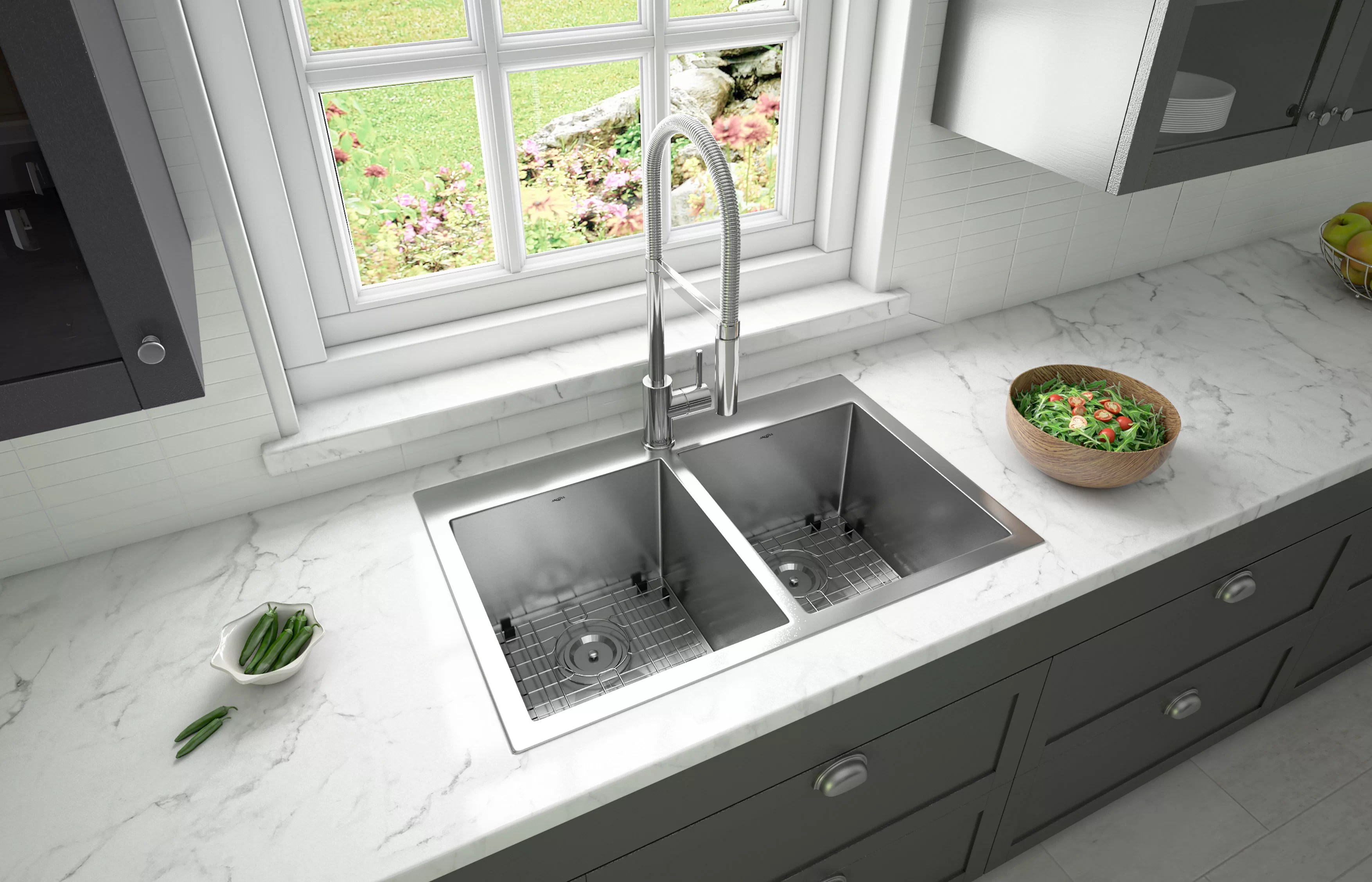 prestige series top mount 30 l x 19 w double basin drop in kitchen sink with faucet