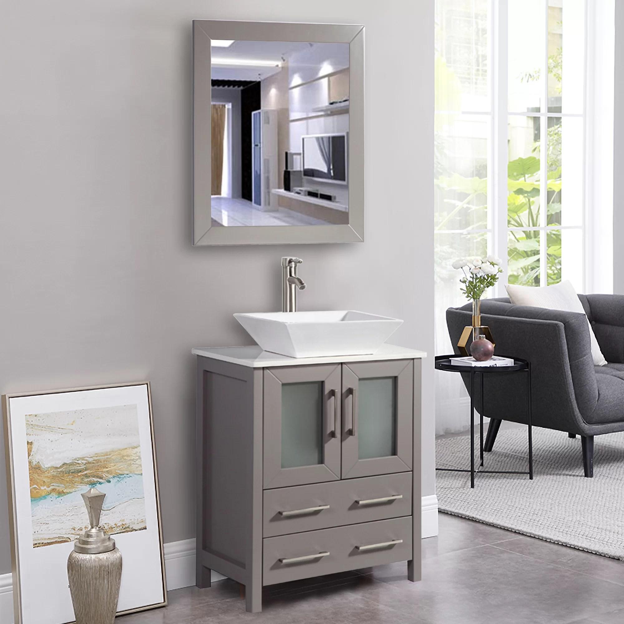 Zipcode Design Knutsen 24 Single Bathroom Vanity Set With Mirror Reviews Wayfair