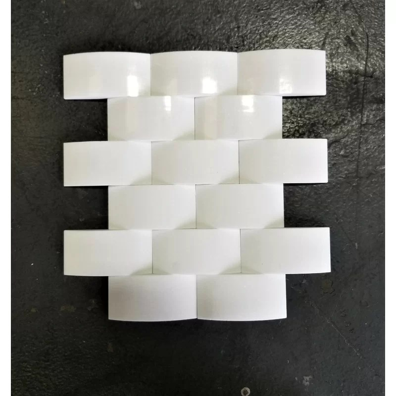 thassos wavy 2 x 4 marble mosaic tile