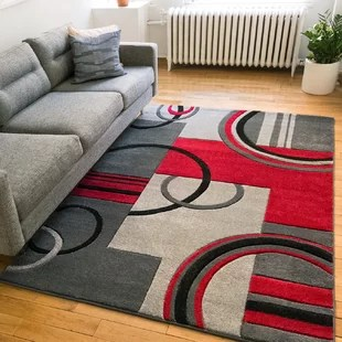 red rugs for living room wall hangings you ll love wayfair co uk ruby galaxy waves grey rug