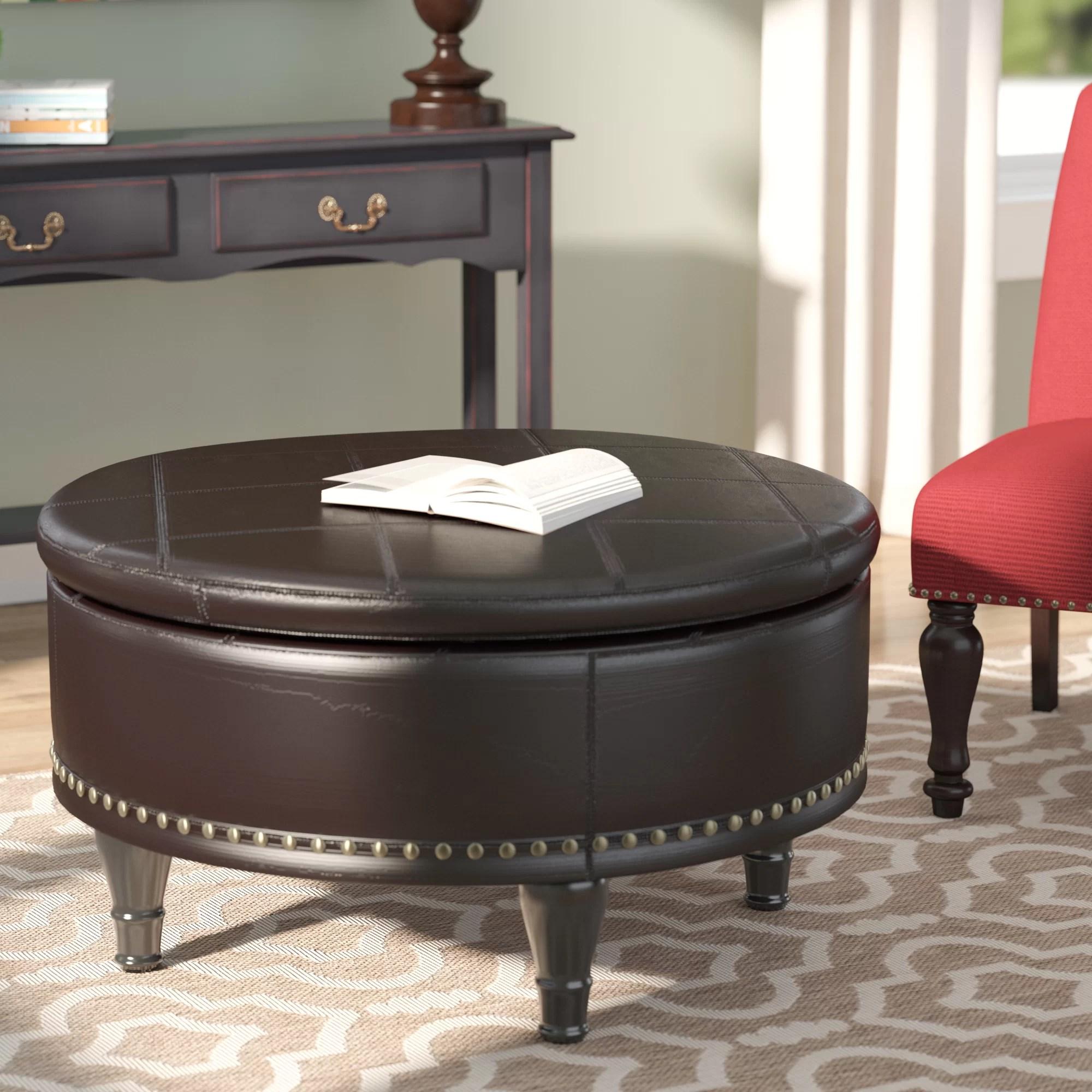 manford 32 wide genuine leather round storage ottoman