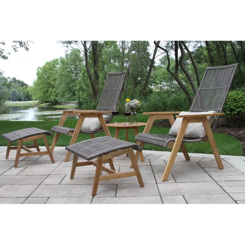 bruges teak patio chair with cushions and ottoman