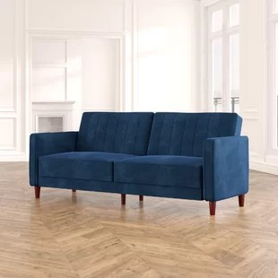 imani velvet 81 5 wide square arm convertible sofa