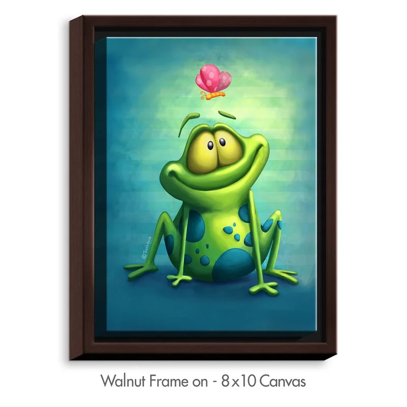 The Frog II by Tooshtoosh Painting Print on Wrapped Framed Canvas Size: 37.75 H x 25.75 W x 1.75 D Frame Color: Walnut